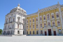 The Palace and the convent. Part of the main facade of National Palace Mafra - July 2017 - Mafra - Portugal royalty free stock photography