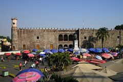 Palace of Cortes, Cuernavaca, Mexico. Palace of Cortes and souvenir market, Cuernavaca, Mexico Stock Photo