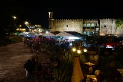 Palace of Cortes and souvenir market, Cuernavaca, Mexico. Night view Stock Photo