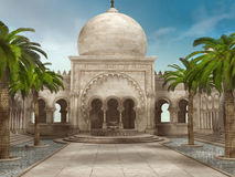 Palace courtyard with palms Stock Image