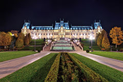 The Palace of Culture edifice in Iasi, Romania. Beautiful Architecture landmark built in 1906-1925. Night view Royalty Free Stock Images
