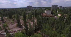 Palace of Culture Energetik in Pripyat town near Chernobyl (Aerial)