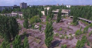 Palace of Culture Energetik in Pripyat town near Chernobyl (Aerial) stock video