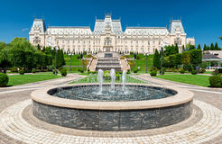 Palace of Culture in Iasi County, Romania. IASI, ROMANIA - AUGUST 03, 2015: Palace of Culture with its beautifull garden and fountain is the main attraction Stock Photo
