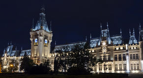 Palace of Culture, Iasi, night view. Designed in Neo-Gothic style by the Romanian architect I.D. Berindei, the Palace of Culture is the symbol of the capital of Stock Images