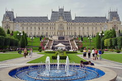 Panorama of Palace of Culture - landmark attraction in Iasi, Romania Royalty Free Stock Photo