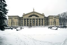 Palace of culture of metallurgists, spring, March. Palace of culture of metallurgists during heavy spring snowfall, Russia, South Ural, Chelyabinsk stock photos