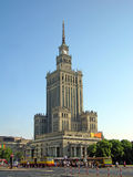 Palace of Culture and Science. Street view of Warsaw with the Palace of Culture and Science and the city transport, Poland royalty free stock photography