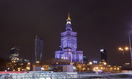 Palace of Culture and Science in the city center of Warsaw at night, Poland. Royalty Free Stock Photo