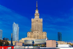 Palace of Culture and Science and downtown business skyscrapers, Stock Image