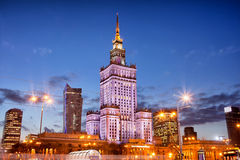 Palace of Culture and Science at Dusk in Warsaw Stock Photography
