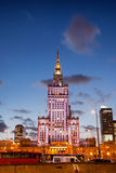 Palace of Culture and Science at Dusk in Warsaw Stock Images
