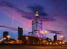 Palace of Culture and Science in the evening Stock Image