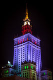Palace of Culture and Science by night. Illuminated with purple, green and red light, Warsaw, Poland royalty free stock image