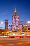 Palace of Culture and Science in Warsaw at Dusk Royalty Free Stock Photos