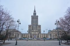 Palace of Culture and Science in Warsaw, evening, Poland, 03.2017 royalty free stock photography
