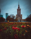 Palace of Culture and Science in Warsaw. Palace of Culture and Science and flowers carpet, Warsaw, Poland Stock Photo