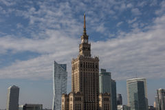 Palace of Culture and Science in Warsaw. Palace of Culture and Science and modern office tower buildings in Warsaw downtown, Poland Stock Images