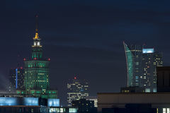 The Palace of Culture and Science in Warsaw at Night. Standing at 237 meters, this building, erected by Joseph Stalin, is the tallest in the country of Poland stock image