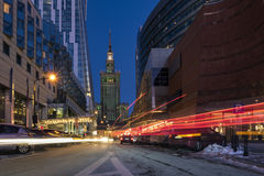 The Palace of Culture and Science in Warsaw at Night. Stock Images