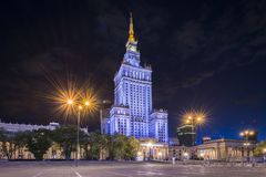 Palace of Culture and Science, Warsaw, Poland. Palace of Culture and Science at night, Warsaw, Poland royalty free stock photo