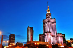 Palace of Culture and Science in Warsaw, Poland. Warsaw city center with Palace of Culture and Science, the tallest building in Poland and the eighth tallest royalty free stock images