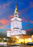 Palace of Culture and Science in Warsaw, Poland at night. Stock Photography