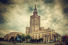 The Palace of Culture and Science, Warsaw, Poland. Retro. The Palace of Culture and Science, one of the symbols of Warsaw, Poland. Retro, vintage style. Palac royalty free stock photo