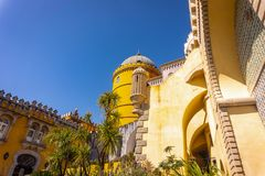 Palace da Pena over the hill. Sintra, Lisbon royalty free stock image