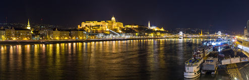 Palace and Danube during the night - Budapest, Hungary Royalty Free Stock Image