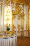 Palace door. Door decorated with gold in the royal palace in the Hermitage Museum in St. Petersburg stock photos