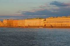 Palace embankment in the setting sun of the evening. Saint Petersburg Royalty Free Stock Image