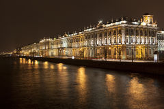 Palace Embankment in St. Petersburg at night Stock Photos
