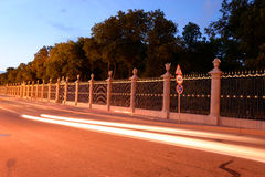 Palace Embankment and Summer Garden at night. Royalty Free Stock Photo