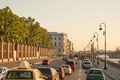 Palace embankment at sunset Royalty Free Stock Photos