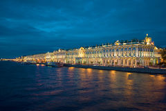 The Palace embankment and the Winter Palace. Saint Petersburg, Russia Stock Images
