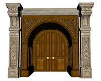 Palace entrance - 3D render Royalty Free Stock Image