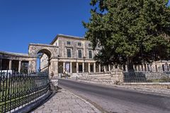 Saint Michael and Saint George Palace in Corfu Town Greece Stock Image