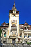 Palace Facade. Peles Palace Tower Facade With A Blue Sky As Background Royalty Free Stock Photo