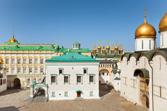 Palace of the Facets. View of Palace of the Facets, Upper savior Cathedral and Assumption Cathedral on Cathedral Square, in the Moscow Kremlin, Russia royalty free stock image