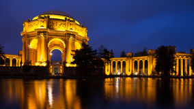 Palace of Fine Arts. Beautiful Palace of Fine Arts Museum at night in San Francisco, California Royalty Free Stock Photo