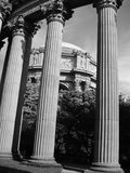 Palace of Fine Arts Columns. Columns and the Rotunda at the Palace of Fine Arts in San Francisco Royalty Free Stock Photography