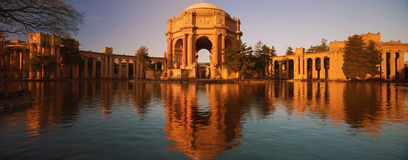 Palace of Fine Arts panorama. The Palace of Fine Arts is a monumental structure originally constructed for the 1915 Panama-Pacific Exposition in order to exhibit royalty free stock photo
