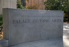 The Palace of Fine Arts sign. On San Francisco, California USA Royalty Free Stock Images