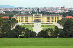 Palace and flower beds in the spacious area Stock Image