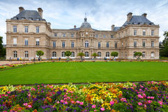 Palace and flowers of the Luxembourg Garden in Paris Royalty Free Stock Images