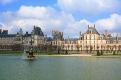 Palace of Fontainebleau and lake, France royalty free stock images
