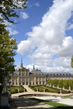 Palace, fountain in foreground. La granja de San Ildefonso, Spai Royalty Free Stock Photo