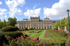 Palace, garden and flowers in foreground Royalty Free Stock Photos