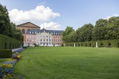 Palace garden in front of the Prince-elector Palace in the center of Trier. Trier, Germany - July 06, 2018: Palace garden in front of the Prince-elector Palace stock images